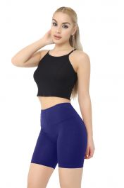 Ladies Navy Cotton Leggings 1/2 length