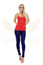 Ladies Navy Cotton Leggings