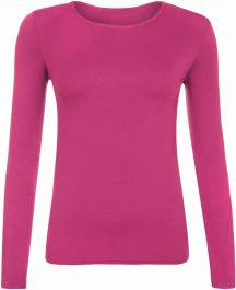 Ladies Plain Hot Pink Long Sleeve Round Neck Stretch T-Shirt