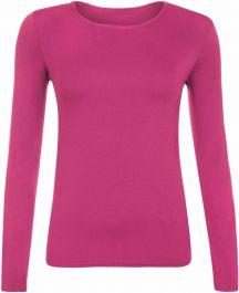 Ladies Plain Hot Pink Long Sleeve Round Neck Stretch T-Shirt