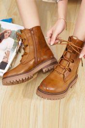 Ladies Plain Leather Laces Ankle Work Boots Camel