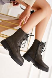 Ladies Plain Leather Laces Ankle Work Boots Dark Green