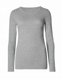 Ladies Plain Light Grey Long Sleeve Round Neck Stretch T-Shirt