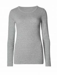 Ladies Plain Light Grey Long Sleeve Round Neck Stretch T-Shirt