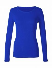 Ladies Plain Royal Blue Long Sleeve Round Neck Stretch T-Shirt