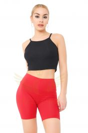 Ladies Red Cotton Leggings 1/2 length