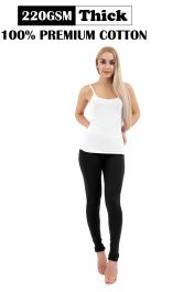 Ladies Black Thick Cotton Leggings (220-GSM)