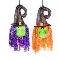 Large Witches Head 2 Assorted Purple Orange 52cm