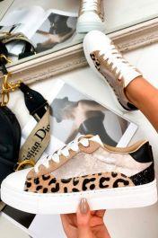 Leopard Metallic Trainers Gold