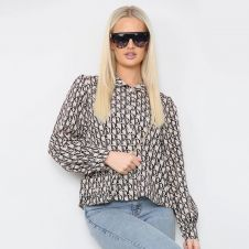 Letter Printed Shirt With Matching Bag Beige