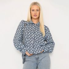 Letter Printed Shirt With Matching Bag Blue