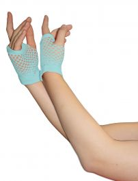 Light Blue Fingerless Short Fishnet Gloves