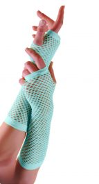 Light Blue Long Fishnet Gloves (Dozen)
