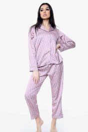 Long Sleeved Letter Print Pyjama Set Pink
