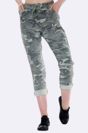 Lurex Side Tape Camo Print Trousers