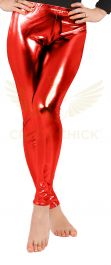 Luxury Red Shiny Metallic Leggings