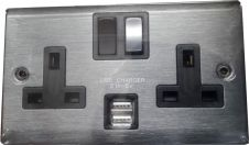 Lyvia 2 Gang Switched Socket 2 x 2.1a USB - Slate