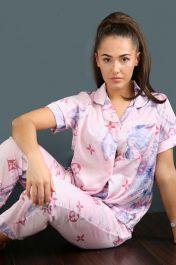 Marble Print Flower Pyjama Trouser Set