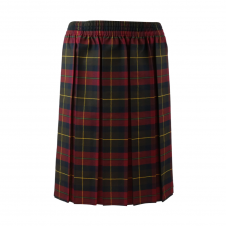 Maroon Tartan Box Pleated Skirt