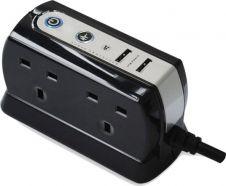 Masterplug USB Plug In 4 Gang Socket