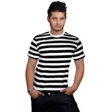 Men Black & White Stripe T-Shirt (Slightly Damage)