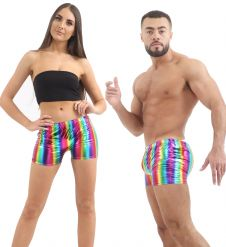 Unisex Shiny Metallic Rainbow Hot Pants