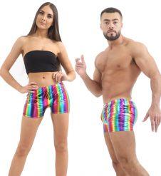 Unisex Shiny Metallic Rainbow Hot Pants
