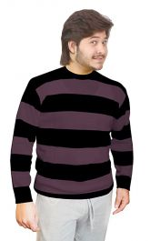 Unisex Black & Purple Stripe Knitted Jumper