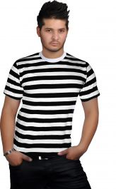 Men Black & White Stripe T-Shirt