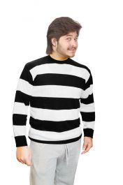 Unisex Black & White Stripe Convict Knitted Jumper