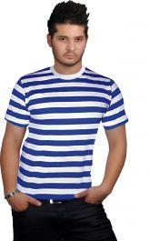 Men Blue & White Stripe T-Shirt