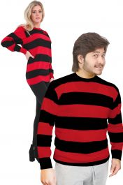 Unisex Red Black Stripe Knitted Jumper