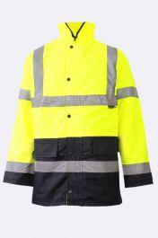 Mens High Visibility Bomber Jacket 2 Tone Yellow