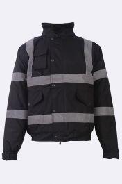 Mens High Visibility Bomber Jacket Black