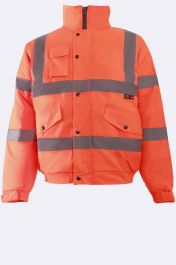 Mens High Visibility Bomber Jacket Neon Orange