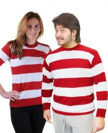 Unisex Red & White Stripe Knitted Jumper