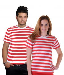 Men Red & White Stripe T-Shirt