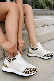 Metallic & Leopard Panelled Trainers White