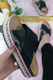 Metallic Glitter Sliders Black