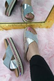 Metallic Glitter Sliders Silver