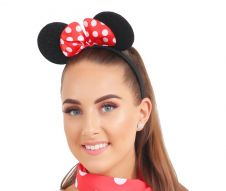 Mouse Ears Head Band With Red Bow
