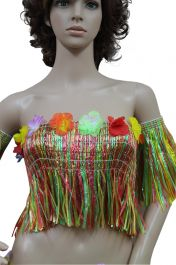Multi Coloured Hawaiian Hula Straw Bra