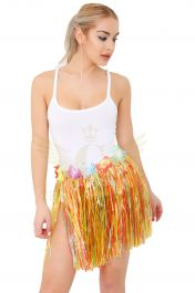 Multi Coloured Hula Skirt with Flowers (40cm)