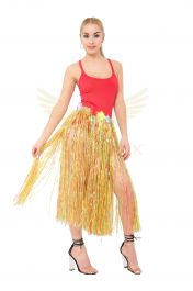 Multi Hula Skirt with Flowers (80cm)