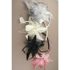 Narrow Ribbon Wrapped with Feather Flower Aliceband