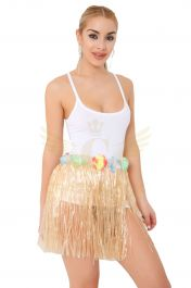 Natural Hula Skirt with Flowers (40cm)