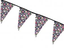 Navy Floral Print Bunting Flags w/ Black Lace