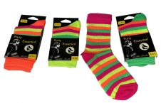 Neon Rainbow Stripe Ankle Socks(12 Pairs)