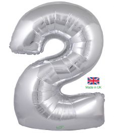 Number 2 Silver Balloon (30 Inches)
