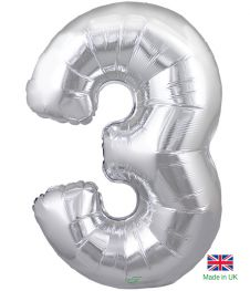 Number 3 Silver Balloon (30 Inches)